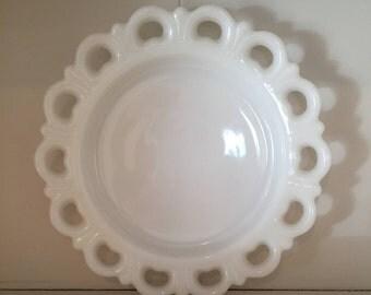 Vintage Milk Glass - Lace Edge Dessert Plate