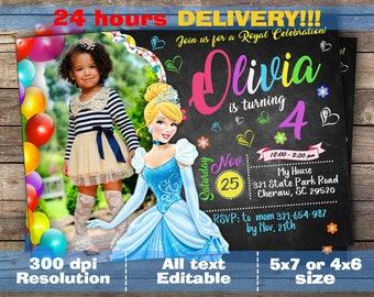 Cinderella Invitation - Disney Cinderella Invite - Cinderella Birthday Printed Invitation with photo - Cinderella Birthday Party