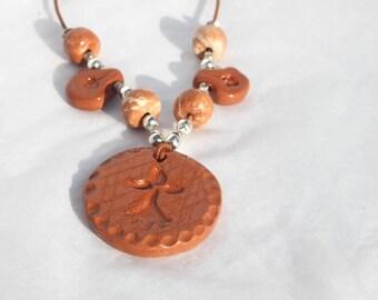 Women ermine red and white ceramic pendant necklace