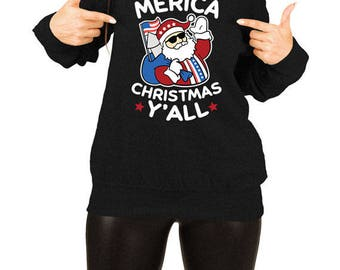 Funny Holiday Sweater America Gifts For Christmas Pullover Xmas Jumper Merry Xmas USA Merica Off The Shoulder Slouchy Sweatshirt TEP-526