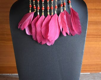 Dreamcatcher Necklace, Pink Fuchsia Statement Necklace, Beads & Feather Necklace, Adjustable Necklace, Pink Wrap Necklace, Pink Choker