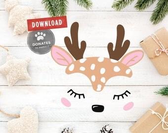 Reindeer Face SVG | Reindeer SVG | Baby Deer Face SVG | Doe Face Svg Christmas Svg Holiday Christmas Clipart Kids Shirt Commercial Use Dxf