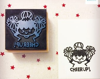 Hand Carved Cheer Up Rubber Stamp