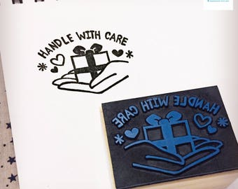 Hand Carved Handle with Care Rubber Stamp