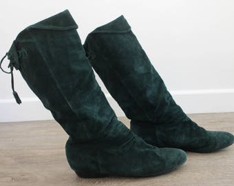 Dark Forest Green Soft Suede Tall Pixie Slouch Mid Calf Pirate  Emerald Leather Boots/ 10