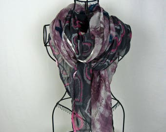 Large square scarf black and brick collection 180, large shawl, black, black, heart scarf