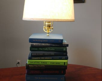 Handmade table lamps etsy upcycled book lamp homemade living room decoration stacked books table lamp mozeypictures Images