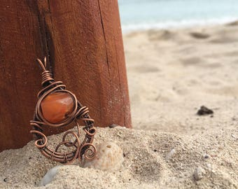 Carnelian, Wire Wrapped Focal Bead Pendant