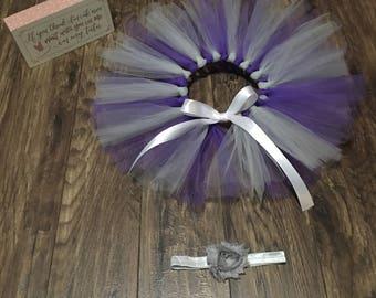 Purple & Grey Tutu and Headband, Purple Tutu, Grey Tutu, Baby Tutu, Newborn Tutu, Handmade Tutu