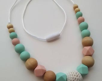Melody Necklace. Silicone, Crochet and Wood Teething and Nursing Necklace