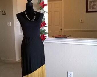 Asymmetric Black skirt for Latin dance