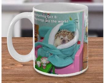 Hedgehog Facts: Mornings Are The Worst Mug by Urchin Wear a Pricklepants Original Hedgehog Fact