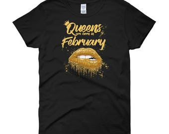Queens Are Born In February Birthday T-Shirt for Black Women