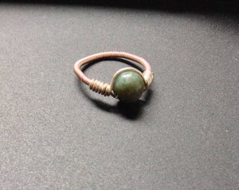 Wire Wrapped Moss Agate Ring