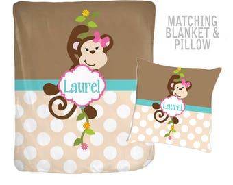 GIRL MONKEY Blanket, Monkey Pillow, Blanket Pillow Set -Girl MONOGRAM Blanket, Velveteen, Personalized Nursery Blanket -Girl Shower Gift