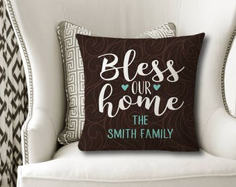 Bless Our Home PILLOW, Family Name Pillow, Personalized Mother's Day Gift, Family Name Gift, Housewarming Gift -Pillow Cover or With Insert