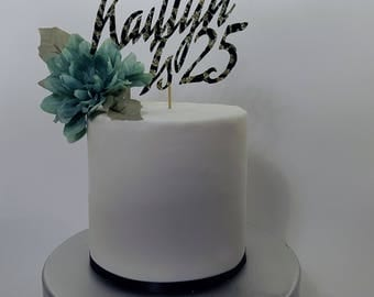 """Handmade """"Customizable Name Is Age"""" Cake Topper"""