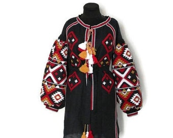 Ukrainian Embroidery Boho Ukraine Custom Boho Dresses Vyshyvanka Bohemian Style Vishivanka Linen Boho Dress Chic Nationale Abaya Dress
