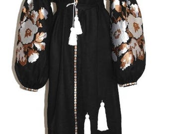 Ukrainian Embroidery Custom Boho Dress Ukrainian Boho Vyshyvanka Vishivanka Custom Clothing Linen Chic Nationale Linen Bohemian Style