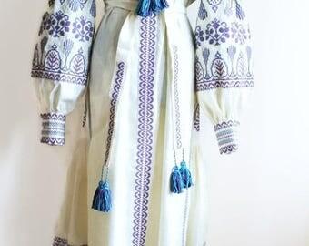 Open Caftan Dress Kaftan Abaya Long embroidered Dresses Ethnic Ukrainian Embroidery Vyshyvanka Custom Boho Bohemian Vishivanka Ultra Violet