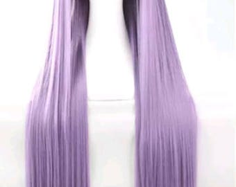 Customizable - LAVENDER -  long straight Wig w/ bangs - scene emo cosplay anime punk lolita mermaid hair styles real Wig - fast shipping