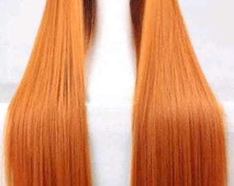 Customizable - ORANGE -  long straight Wig w/ bangs - scene emo cosplay anime punk lolita mermaid hair styles Wig -