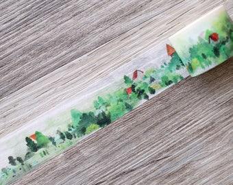 rural washi tape,Rural Scenery Washi Tape,green mountain tape,Hills washi tape,house washi tape,forts washi tape