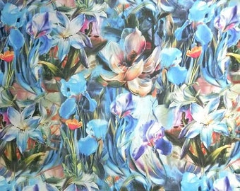 Blue shades floral printed 30 D Polyester Poly Silky Chiffon Fabric Material For Dress Cloth Skirt 30D-33024 By The Yard