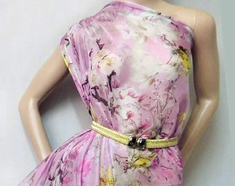 Asian Pink Floral printed 30 D Polyester Poly Silky Chiffon Fabric Material For Dress Cloth Skirt 30D-33032  By The Yard