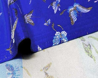 """36"""" wide Chinese brocade beautiful buttefly on royal blue shiny satin fabric faux silk embroidered by the 0.5 YARD, Yards Meters BR 605"""