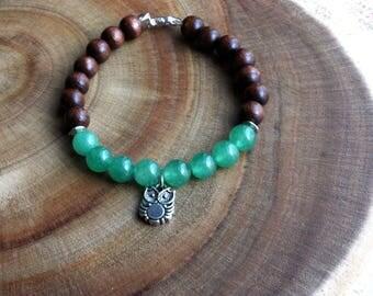 Owl charm bracelet | Animal bracelet | Owl jewelry | Animal jewelry | Owl gift | Aventurine bracelet | Beaded bracelet | Owl lover gift