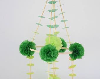 green pajaki chandelier baby mobile