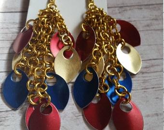 Wonder Woman inspired chandelier chainmaille earrings