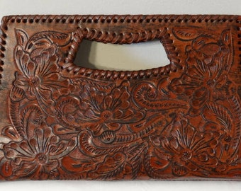 """ALLE """"Sobre"""" Vintage Hand-Tooled Leather in Red and Black Patina Finished Clutch Bag"""