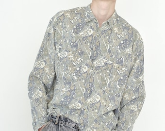 VINTAGE Light Grey Patterned Long Sleeve Button Downs Retro Shirt