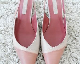 Vintage 90's Pink Leather Nine West Pointy Slingback Flats - 7.5M
