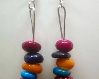 Colourful Shell Beads Earrings  with sterling silver hooks