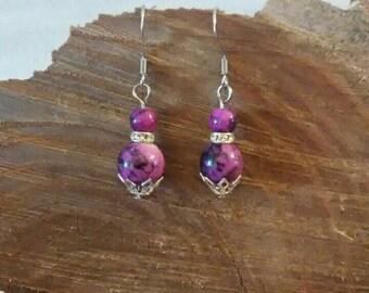 Earrings, Purple earrings, Purple Glass and Crystal Bead Earrings, Gift for Her, Gift under 20, Handmade earrings, Purple