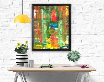Autumn forest. Original contemporary landscape. Acrylic painting. Picture.