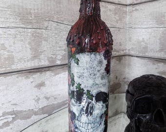Skull Bottle - Altered Wine Bottle - Upcycled Bottle - Mixed Media Bottle - Decorative Bottle - Alchemy Bottle - Gothic Gift