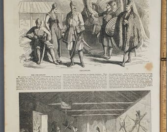 Two Engravings of Circassian Family Life from 1854. Military Scene. Large Antique Engraving, About 11x15
