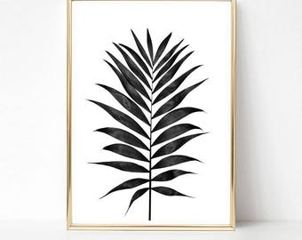 Palm Print, Tropical Print, Large Wall Art, Black and White Palm Print, Tropical Palm Leaves, Palm Leaf Print, Palm Printable Poster