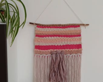 THE PINK ONE / Wall Hanging / Weaving / Woven Tapestry