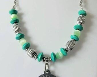 Silver tree boho hippie pastel green necklace
