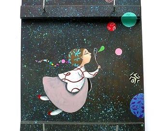 Wall Keychain-Woman, Ilustration, Wood