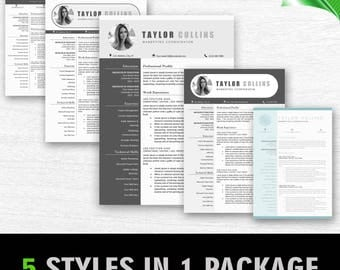 Modern Resume Template for Word + Cover Letter | 1, 2 & 3 Page Resume Templates, Professional Resume Template Instant Download Resume Bundle