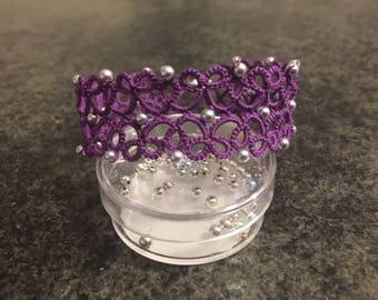 Purple jewelry bracelet with Swarovski beads