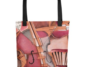 Abstract Red Cello - Amazingly beautiful full color tote bag with black handle featuring children's donated artwork.