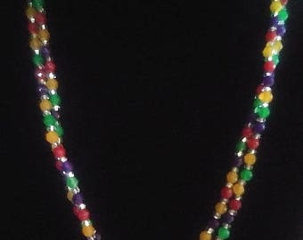 Double strand multi colored faceted glass bead necklace