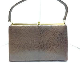 Vintage Faux Reptile Handbag Kelly Bag